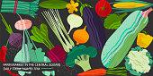 Set of vegetables. Vector illustration of healthy food design on the topic of vegetarianism and farm fair. Vegan menu. Billboard concept