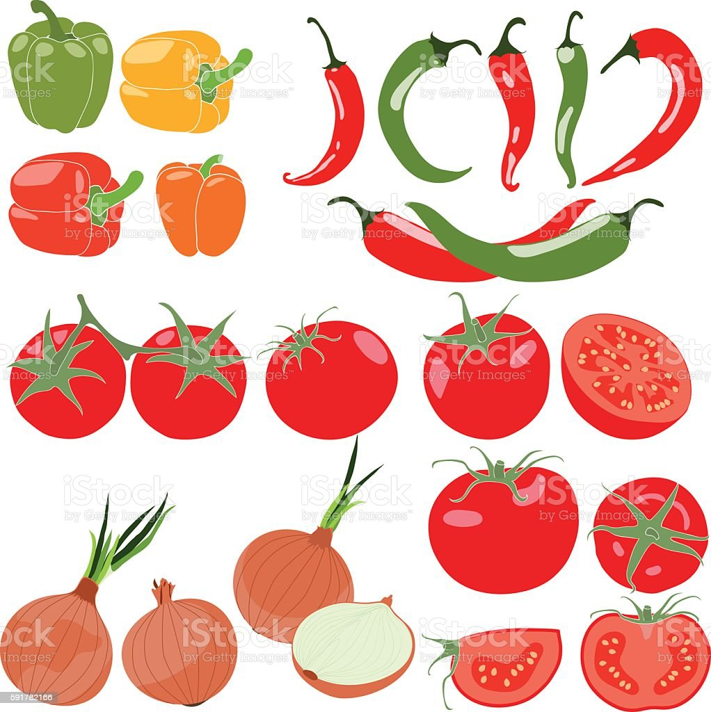 Set of vegetables with peppers, chili pepper, tomatos, onion, vector vector art illustration