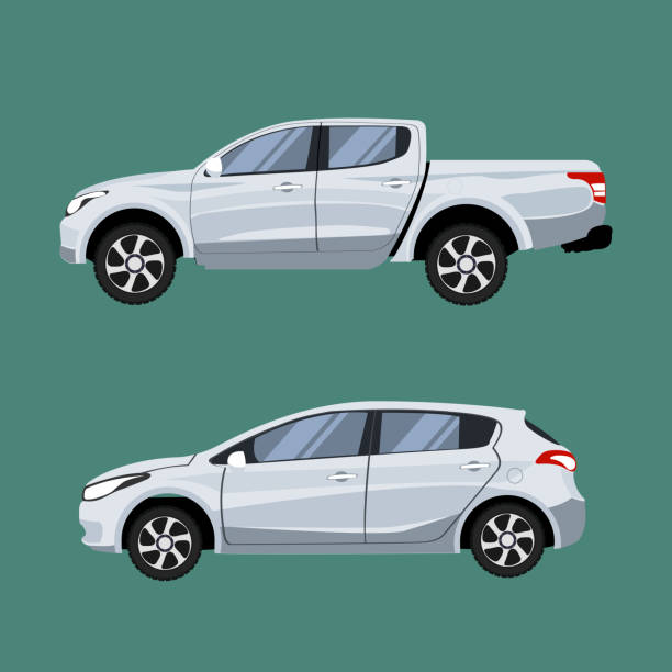 Set of vehicles pickup truck and Hatchback in side view. Profile view of truck vector personal land vehicle stock illustrations