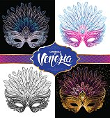 "Set of Venetian carnival masks. Vector illustration with hand drawn lettering ""Carnevale di Venezia"" (Venetian Carnival)."