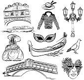 Set of Venice sketch, vector hand drawn illustration