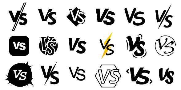 Set of versus letters. VS vector sign for games design.