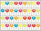 set of vertical alphabet style business cards