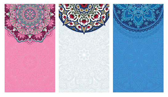 Set of vertical background with colored mandalas