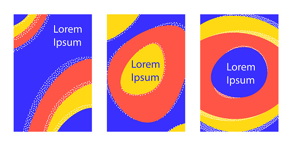 Set of vertical background with dynamic liquid shapes.