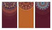 Set of vertical backgrounds decorated with oriental ethnic patterns. Collection of brown flyers with mandalas. Vector illustration.