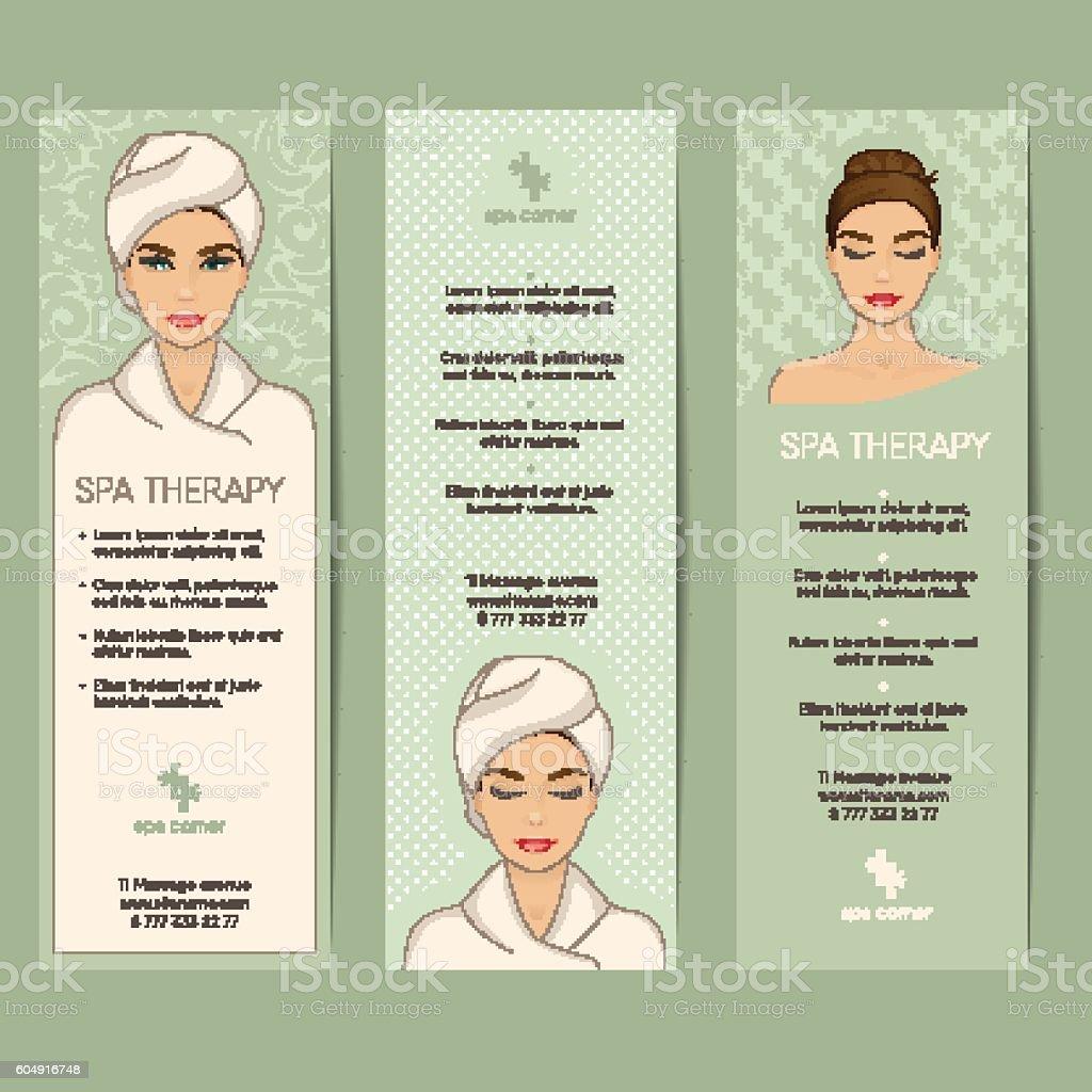 Set of vertical banner, flyer or coupon templates. Beauty care, - ilustración de arte vectorial