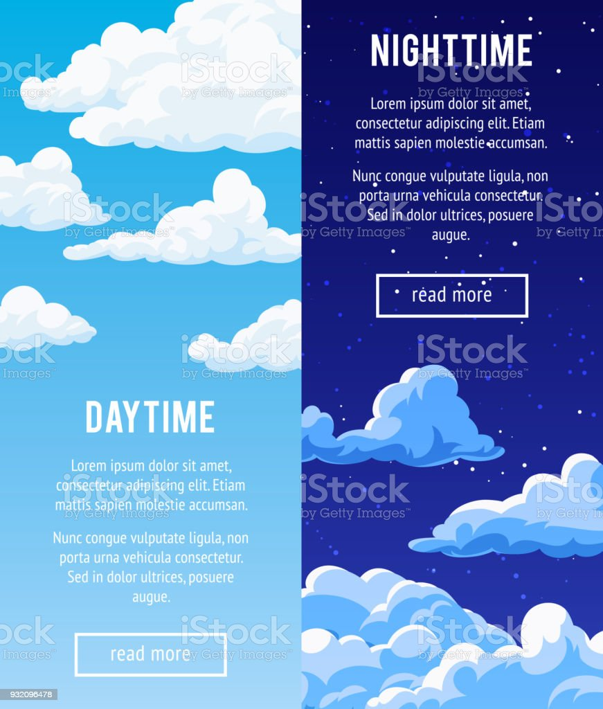 Set of vertical banners with a cloudy sky. vector art illustration