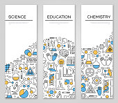 Set of Vertical Banners with Science, Chemistry and Education Symbols. Modern Line Icons with Color Accent. Vector illustration.