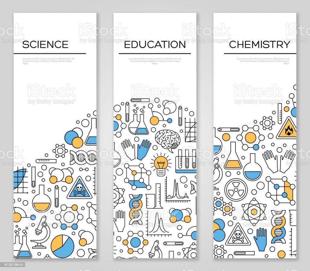Set of Vertical Banners with Science Symbols - ilustración de arte vectorial