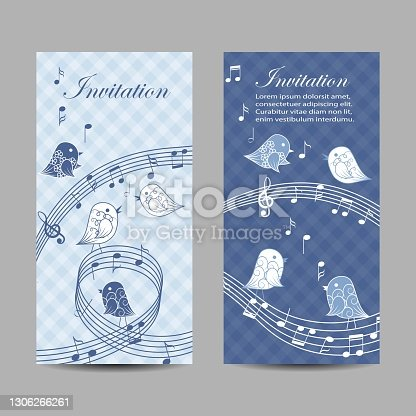 istock Set of vertical banners with singing birds 1306266261