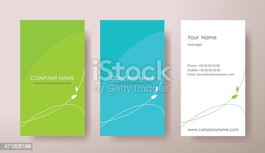 Set of vertical business cards with plant on grey background.