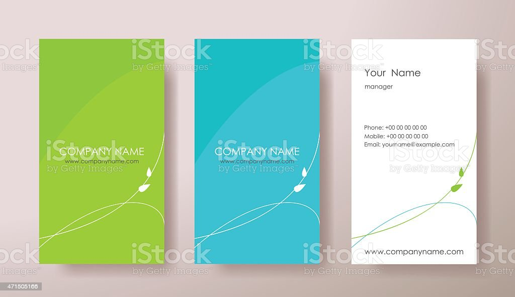 Set of vertical business cards with plant on grey background. vector art illustration