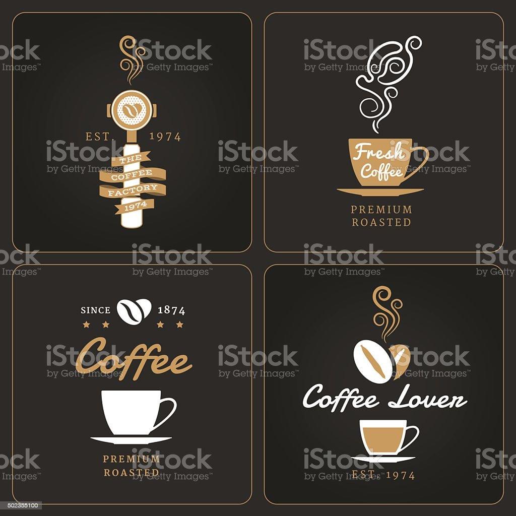 Set of vertical coffee shop badges and labels vector art illustration