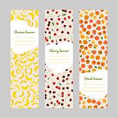 Set of vertical fruit banners. Harvest series.
