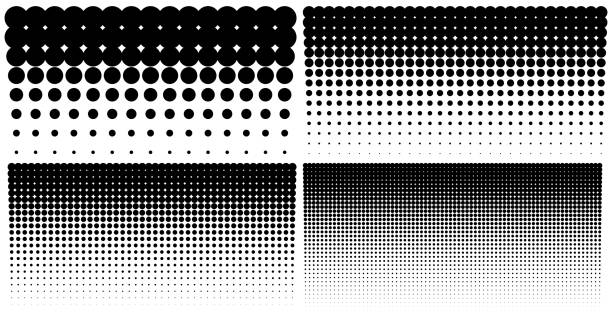 illustrazioni stock, clip art, cartoni animati e icone di tendenza di set of vertical gradient halftone dots backgrounds, horizontal templates using halftone dots pattern. vector illustration - puntinismo