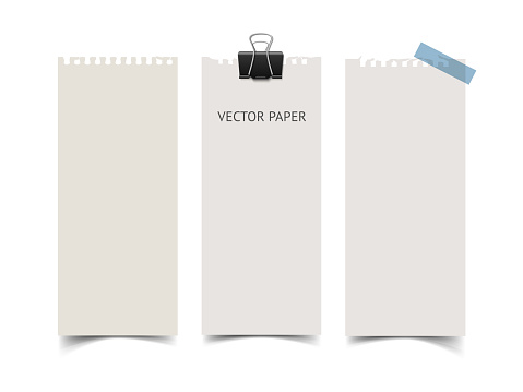 Set of vertical paper card banners. Realistic vector notepaper wit
