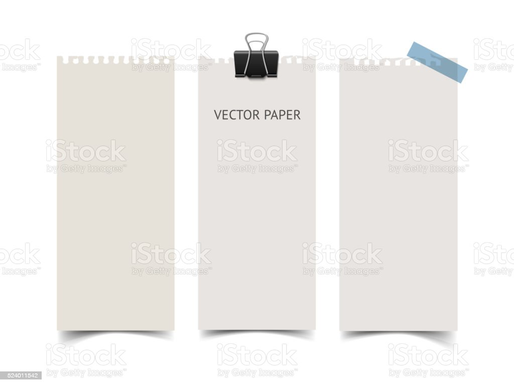 Set of vertical paper card banners. Realistic vector notepaper wit vector art illustration