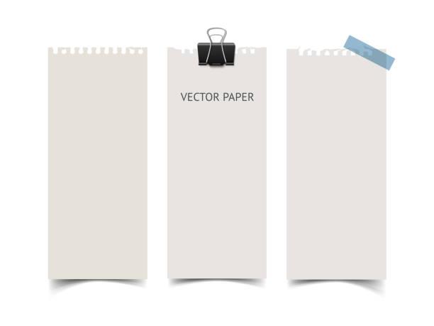 ein satz von vertikale papier-banner. realistische vektor briefpapier wit - liste stock-grafiken, -clipart, -cartoons und -symbole