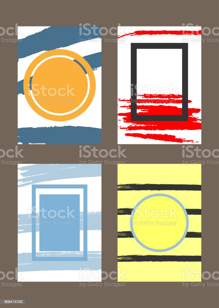 Set of vertical trendy templates with frames for design of greeting cards, covers, invitations, flyers. Grunge, watercolour, graffiti. vector art illustration