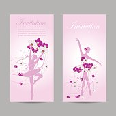 A set of vertical vector banners with tender ballerinas in floral dress.