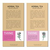 Set of vertical vintage labels with Thyme branch with leaves and flower, Designed vector frame, cards, sticker with space for text, for cosmetic, medicine, package tea, magazine, restaurant menu, page