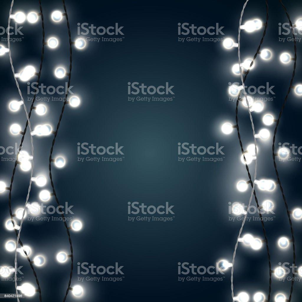 Weihnachtsbeleuchtung Glühlampen.Satz Von Vertikale Weiße Girlande Stil Weihnachtsbeleuchtung Auf Dem