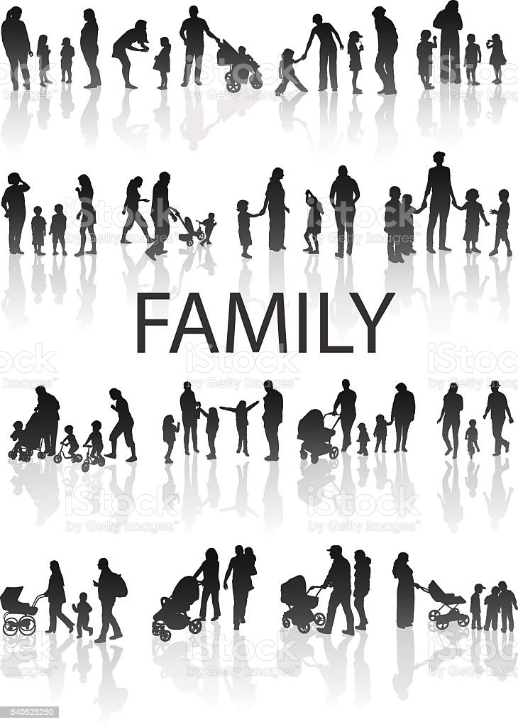 Set of very detailed Family Silhouettes: Men's, Women's and Children. vector art illustration