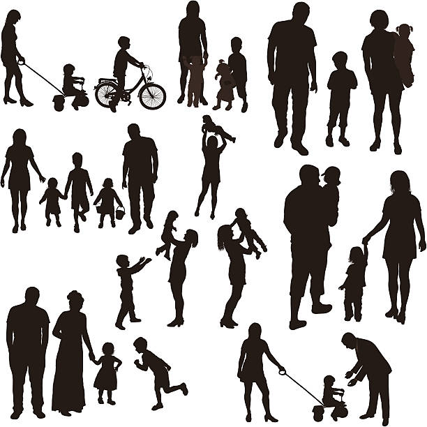 Set of very detailed family silhouettes. Set of very detailed family silhouettes. daughter stock illustrations