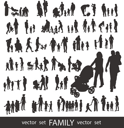 Set of very detailed Family Silhouettes. clipart