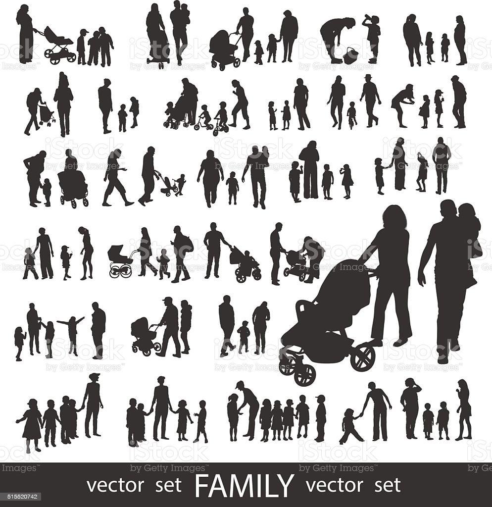 Satz von sehr detaillierte Familie Silhouetten. – Vektorgrafik