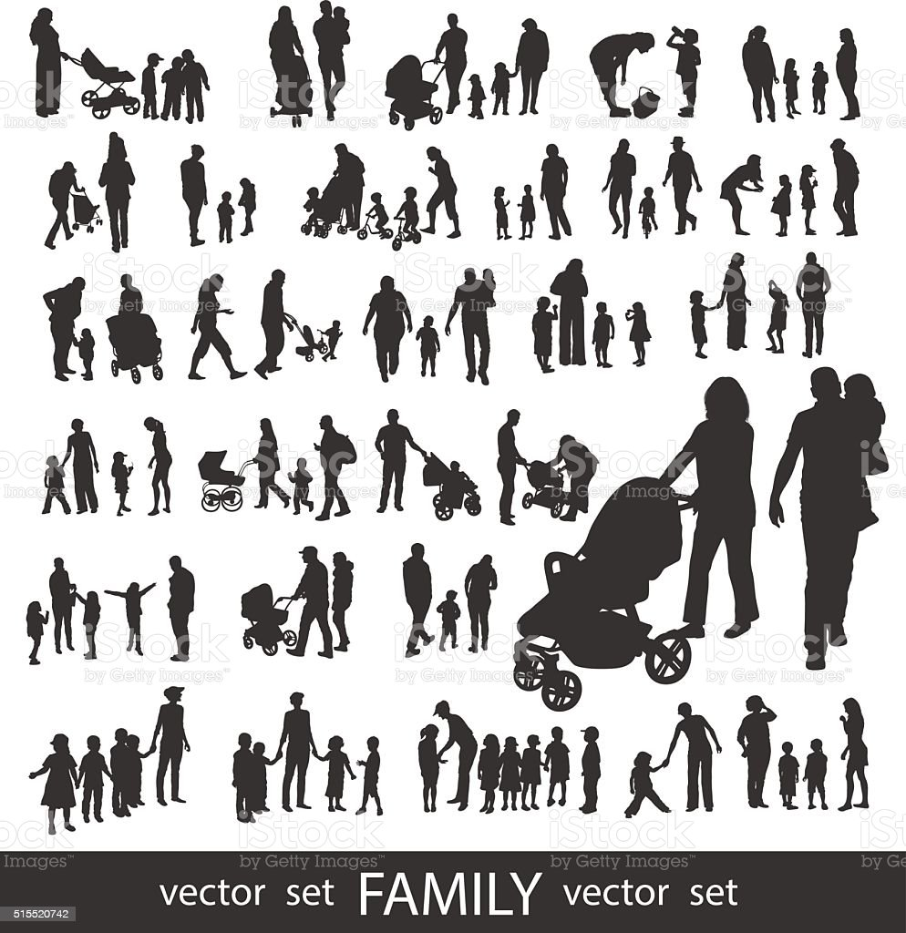 Set of very detailed Family Silhouettes. vektör sanat illüstrasyonu