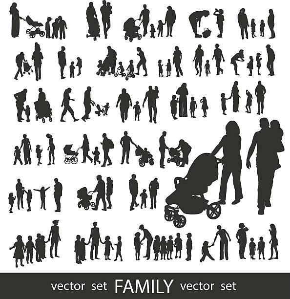 Set of very detailed Family Silhouettes. Set of very detailed Family Silhouettes: Men's, Women's and Children isolated on white. baby carriage stock illustrations