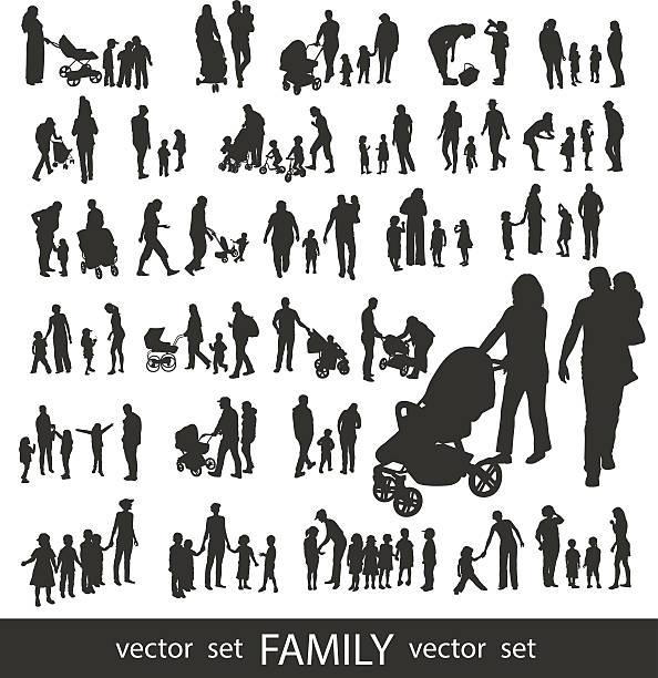 ilustrações, clipart, desenhos animados e ícones de conjunto de silhuetas de família muito pormenorizada. - pai e filho