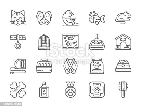 Set of Vet Clinic and Pet Shop Line Icons. Cat, Dog, Bird, Parrot, Fish, Mouse, Aquarium, Medal, Tools, Scissors, Animal Medical Aid and more.