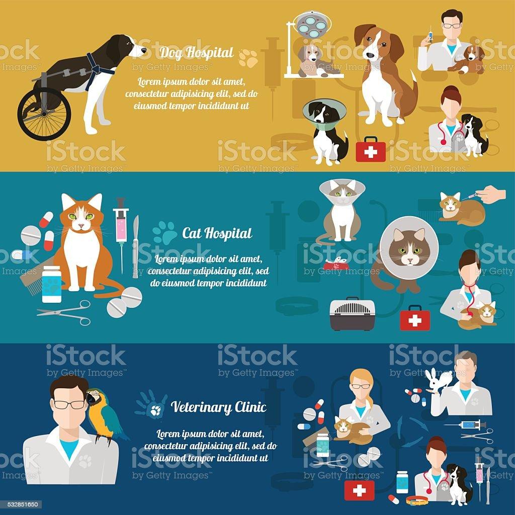 Conjunto de veterinario clínica banners. Cuidado de mascotas. Diseño plano - ilustración de arte vectorial