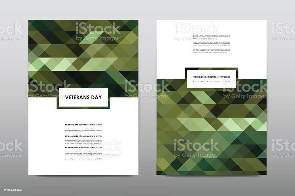 Set of Veterans Day brochure, poster templates in khaki style vector art illustration