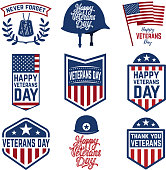 Set of veterans day emblems isolated on white background. Design elements for label, emblem, sign. Vector illustration