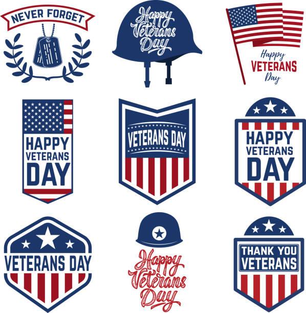 set of veterans day emblems isolated on white background. design elements for label, emblem, sign. vector illustration - veterans day stock illustrations