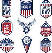 Set of veterans day emblems. USA culture. Design elements for label, emblem, sign. Vector illustration