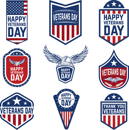 Set of veterans day emblems. USA culture.