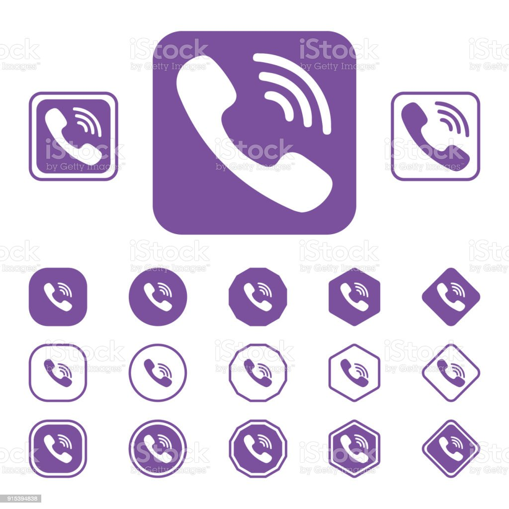 Set Of Viber Flat Icon On A White Background Stock Vector Art More
