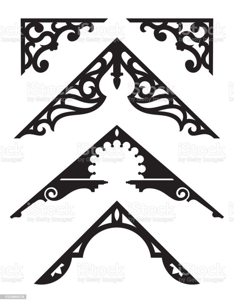 Set of Victorian Gingerbread Architectural Trim Illustrations. vector art illustration