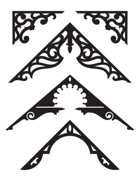 satz von viktorianischen lebkuchen architektur trim-illustrationen. - gesims stock-grafiken, -clipart, -cartoons und -symbole