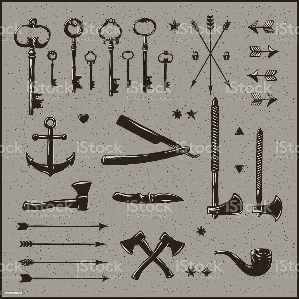Set of Victorian items design elements in black ink vector art illustration