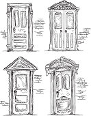 Vector illustration of a set of Victorian style doors. Download includes Illustrator 8 eps and high resolution jpg and png file. Doors each grouped together for easy editing.