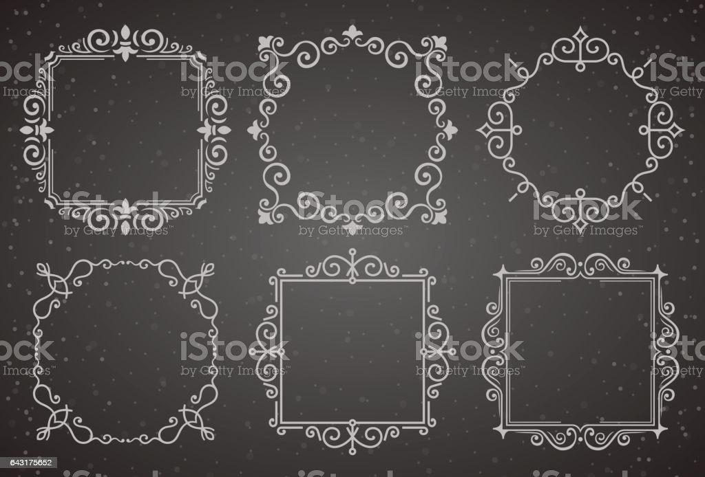Set Of Victorian Vintage Decoration Frames Flourishes Calligraphic ...