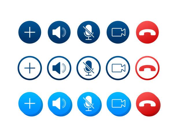 illustrazioni stock, clip art, cartoni animati e icone di tendenza di set di pulsanti di videochiamata. web design. pulsanti di videochiamata per la progettazione di app per dispositivi mobili. illustrazione vettoriale stock. - video call
