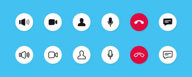illustrazioni stock, clip art, cartoni animati e icone di tendenza di set di icone di videochiamata. videoconferenza. pulsanti di raccolta di app di chat video online, chat su internet, tecnologia di chiamata. modello di visualizzazione dell'interfaccia utente di web app. area di lavoro per videoconferenze e riunioni online - video call