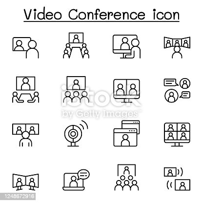 Set of Video conference line Icons. Contains such Icons as online meeting, business communication, team, classroom, online education, presentation, work from home and more. Vector illustration graphic design